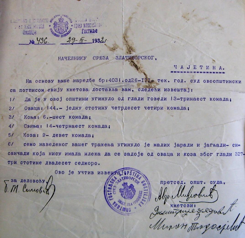 Gostilje - uginula stoka 1932.